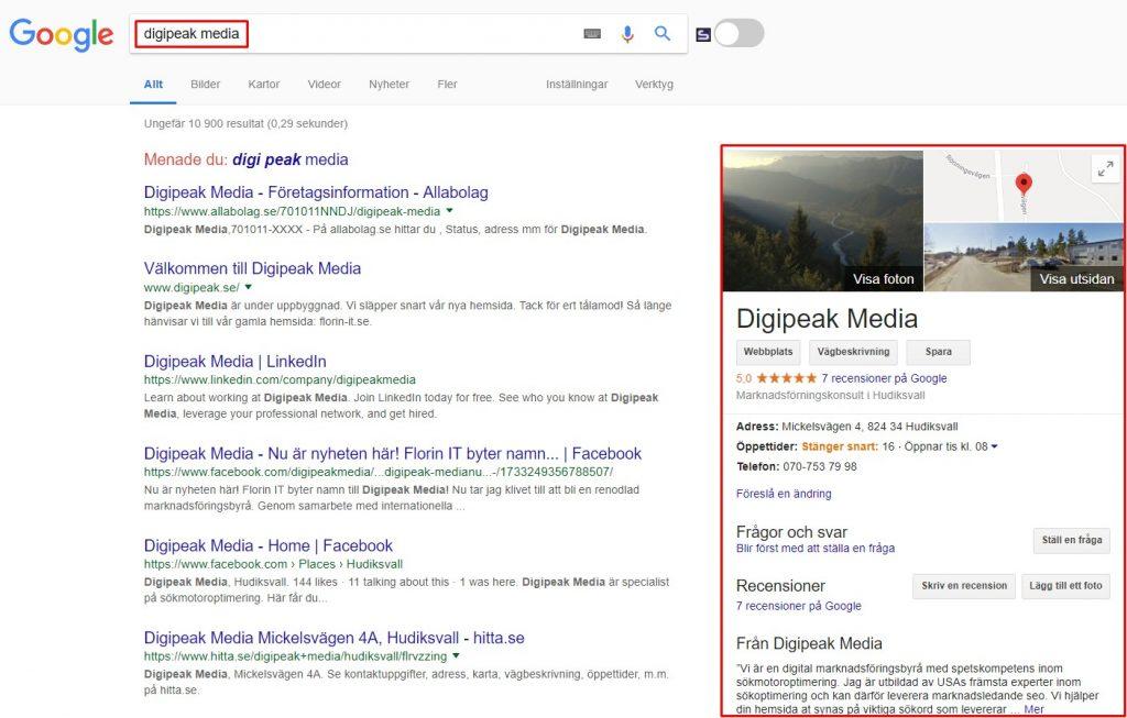 Sök Digipeak Media på Google