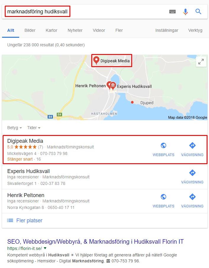 Sök marknadsföring Hudiksvall på Google